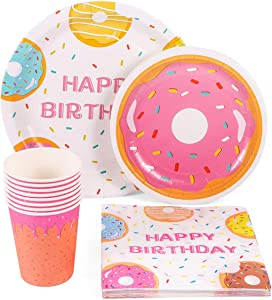 44PCS Donut Party Supplies Set - Donut Food Theme Party/Tea/Doughnut Baby Shower/Birthday Party Decorations Favors Plates Cups Napkins