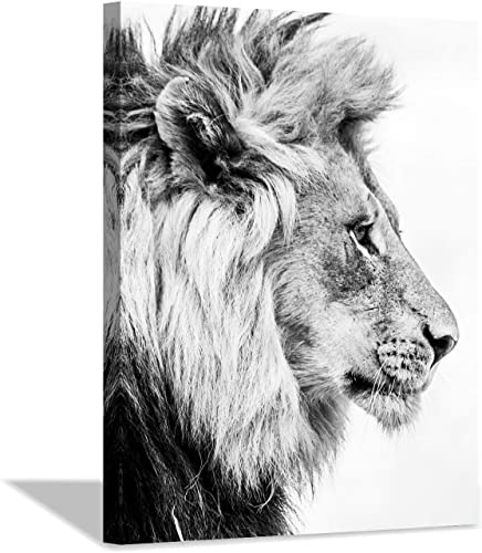 Lion Art Wall Decor Picture: Wildlife Portrait Graphic Artwork Print Painting on Wrapped Canvas 40''x30''