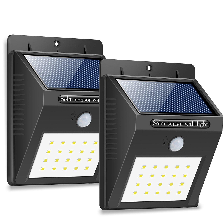 hetp 20 LEDソーラーライトモーションセンサー検出器 B076GXTH1D 17479  Black2 Pack