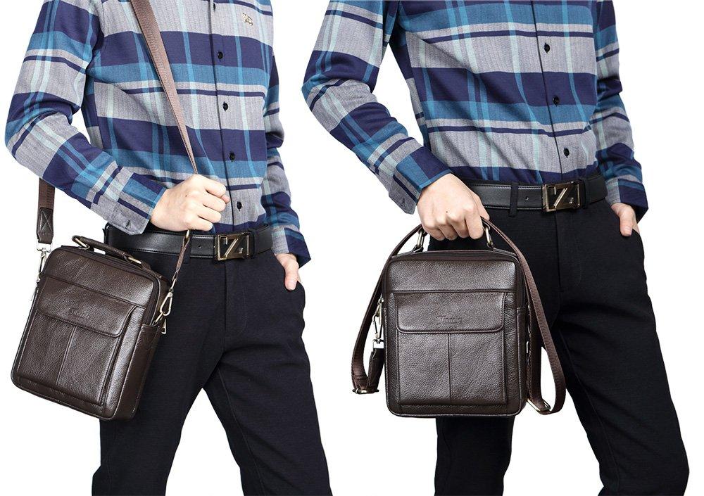 Coffee Sunmig Mens Genuine Leather Shoulder Bag Messenger Briefcase CrossBody Handbag