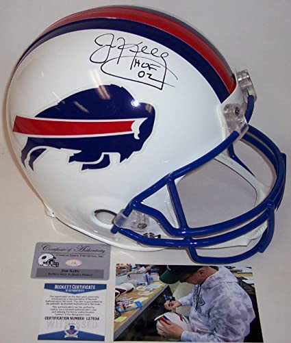 628b0cc2e96 Jim Kelly Autographed Hand Signed Buffalo Bills Full Size Authentic Football  Helmet - with Hall of