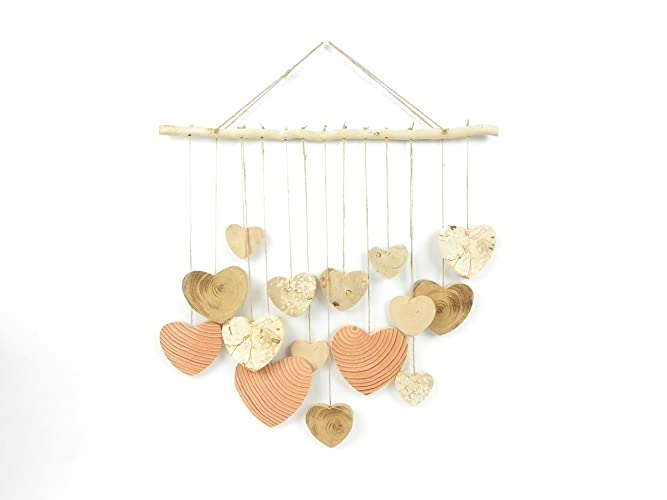 Wooden Romantic Wall Decoration, Mobile Of Suspended Wooden Hearts, Wood  Wall Hearts, Hand