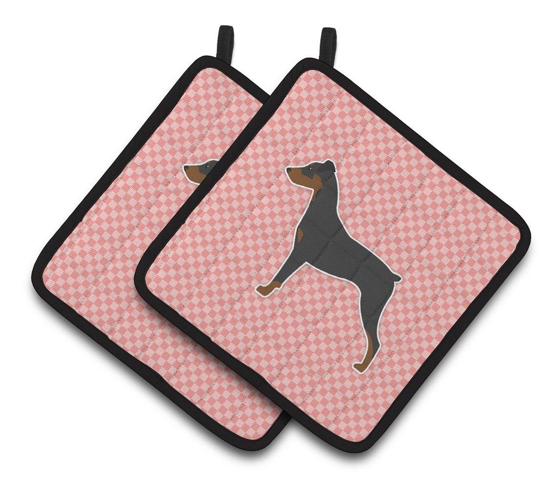 Multicolor 7.5HX7.5W Carolines Treasures German Pinscher Checkerboard Pink Pair of Pot Holders BB3613PTHD