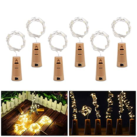 Luz de Botella, ALED LIGHT 6 pcs 20 LED Luz de Bricolaje Corcho Micro Luces LED para Botella de Vino para Boda, Fiesta, Decoración de ...