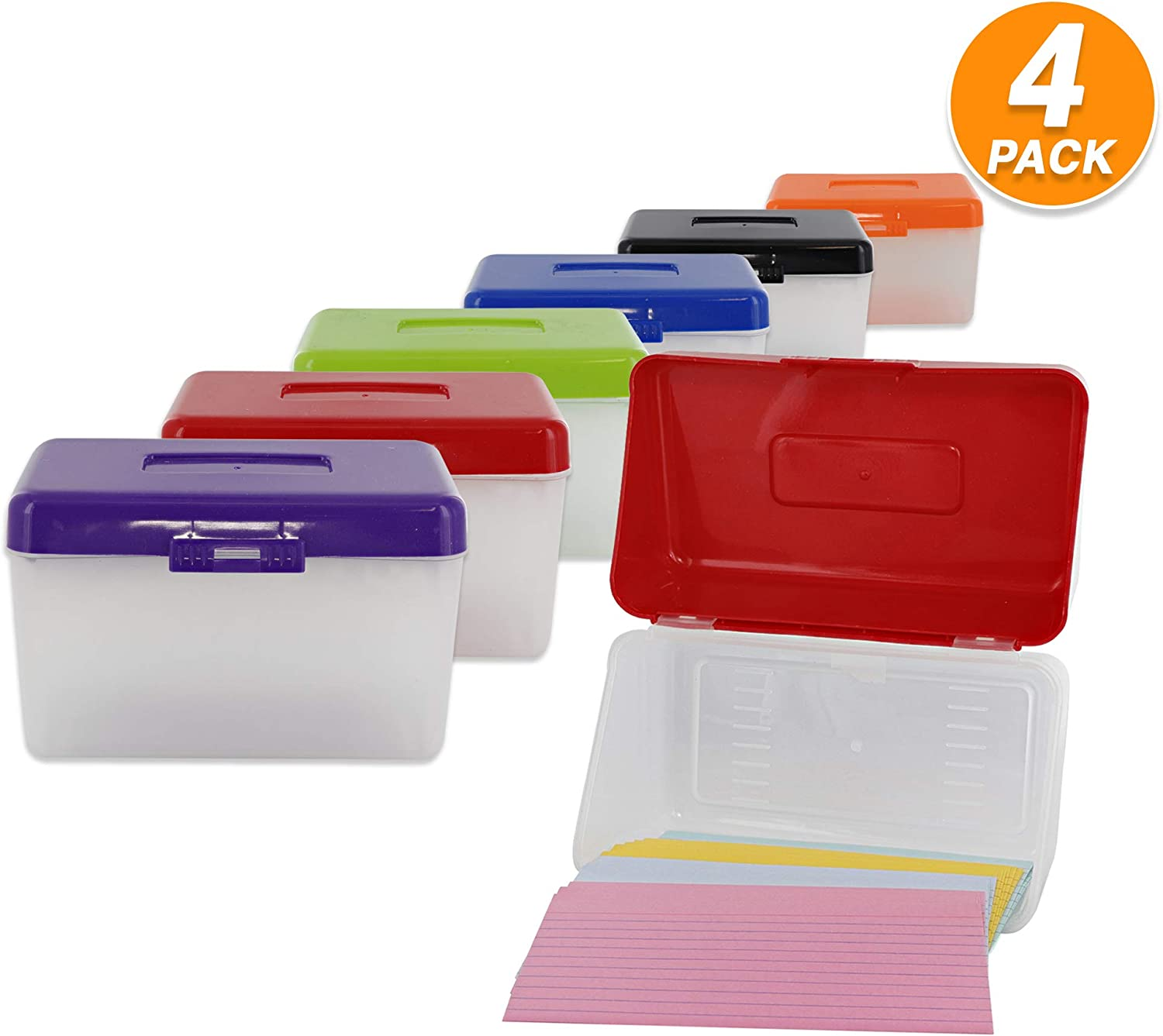 """3"""" X 5"""" Index Card Case Holds Upto 250 Cards Ideal for Filing Notes, Addresses & Recipes – (Pack of 4) - by Emraw"""