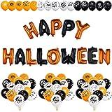 iZoeL Halloween Dekoration Ballons HAPPY HALLOWEEN Girlande & 50 Halloween Ballons mit Muster Kürbis Skelett Geist Totenkopf Feldermaus Mitgebsel für Kinder