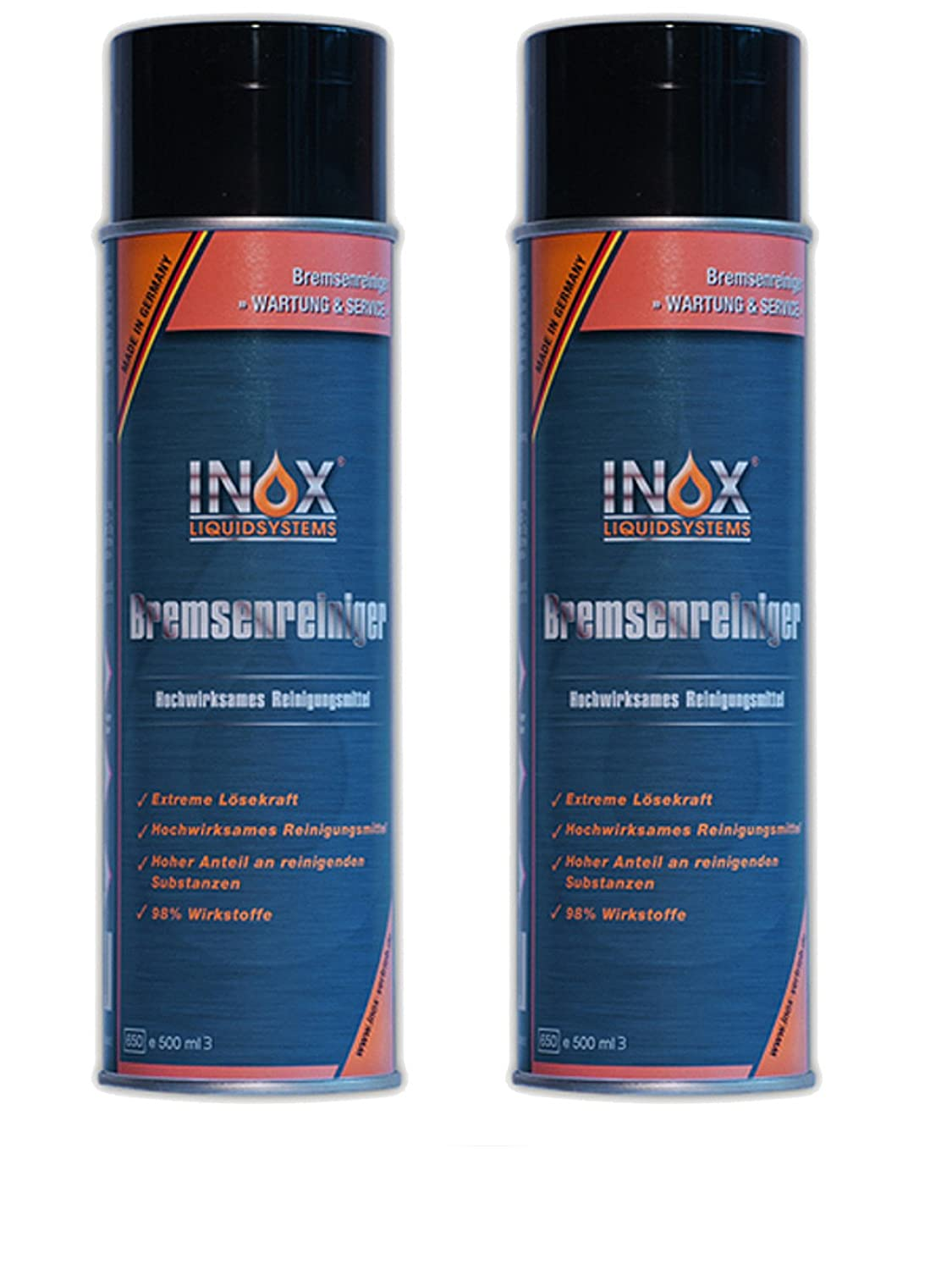 Inox Brake Cleaner, 2 x 500 ml, Acetone-Free Brake Disc Cleaner for Cars