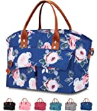 Giotto Insulated Fashionable Adult Lunch Bag for Women Reusable Leakproof Cooler Lunch Box with Removable Adjustable Shoulder Strap for Work Pinic-Blue Flower