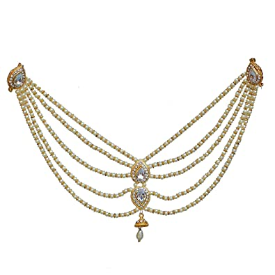 6eeb6f85695 Buy PADMAWATI BANGLES Gold Plated Saree Pearl Blouse Back Brooch Pin  Accessories Jewelry for Women (White) Online at Low Prices in India |  Amazon Jewellery ...