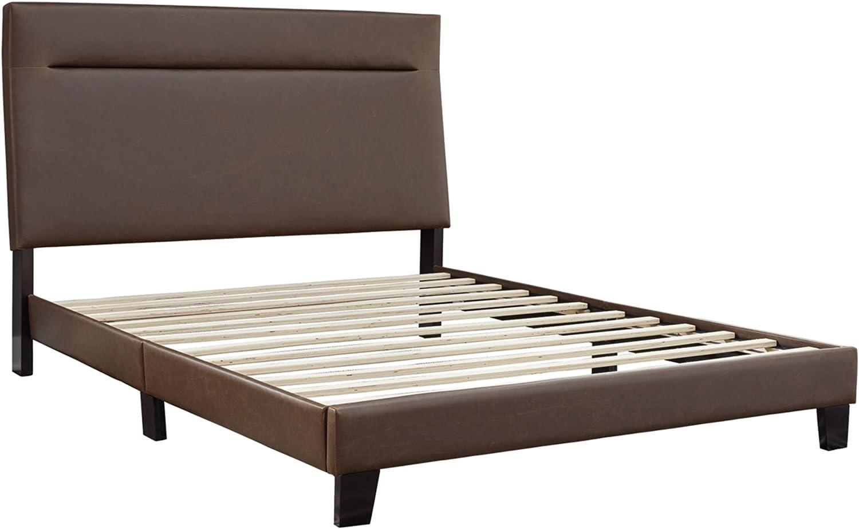 Signature Design by Ashley Adelloni Upholstered Platform Bed Frame King Brown