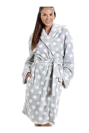 444fb1efb90 Camille Grey Super Soft Fleece Honey Dot Luxurious Bathrobe 10 12 Grey