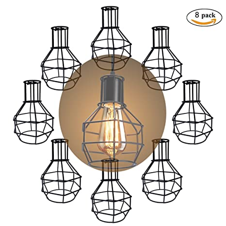 Metal cage droplight lampshade motent 8pcs vintage industrial wire metal cage droplight lampshade motent 8pcs vintage industrial wire cage string hanging lighting fixture creative keyboard keysfo Images