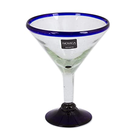 NOVICA Hand Blown Clear Blue Recycled Glass Martini Glasses, 13 oz Cobalt Contrasts set of 6