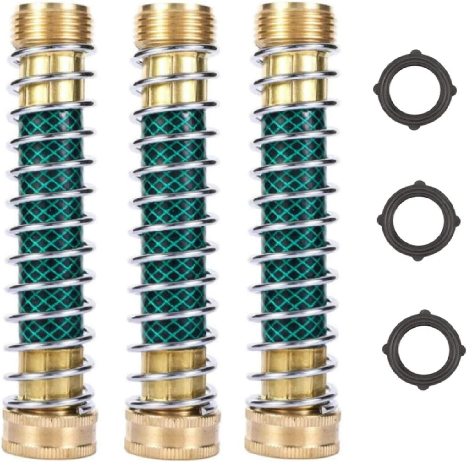 RouLiPouLi Garden Hose Coiled Spring Protector with Solid Brass Faucet Hoses Coupling Adapter Extension 3Pcs