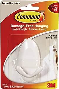 Command 17087 Q Quartz Double Hook [1 Hook & 2 Strips]