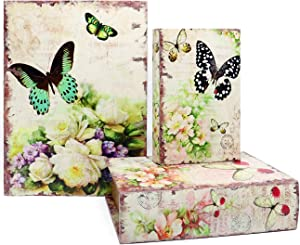 Jolitac Decorative Book Boxes World Map Pattern Antique Book Invisible box with Magnetic cover, Faux Wood Set of 3 Storage Set (Butterfly)
