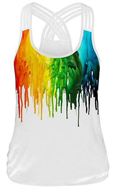 Amazon.com: Piiuiy Yuik New Women Sleeveless Top 3D Print Tank Tops Casual Workout Cropped White Camisole Vest Punk Rock: Clothing