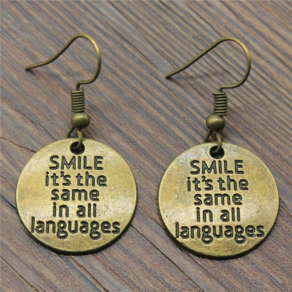 WYSIWYG 3 Pairs Drop Earrings Vintage Earrings Hanging Smile Its The Same in All Languages 20x20mm with Earring Backs Stopper
