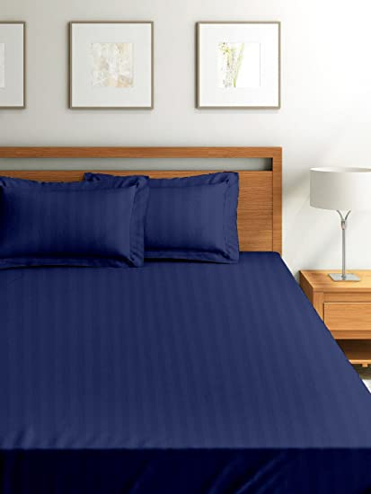 Cloth Fusion Amor Satin Striped 210 TC Cotton Fitted Bedsheet with 1 Pillow Cover- Single(78x36) Inches, Navy Blue