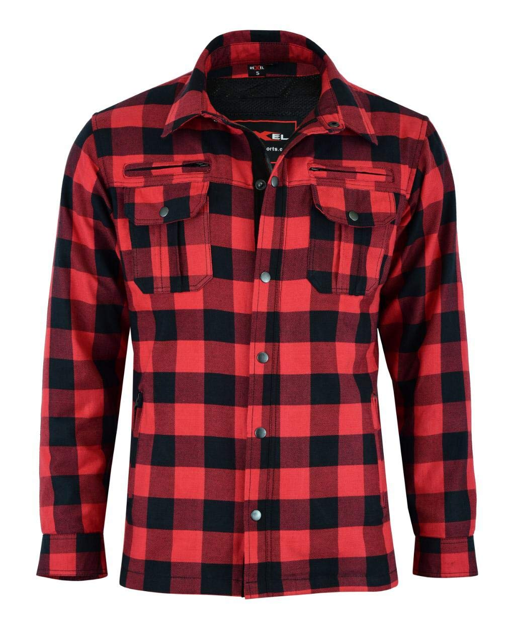 Vaster Lumberjack Reinforced Motorcycle Motorbike Check Shirt CE Armoured shirt for Men Boys Removable Protections WHITE//Black 2XL