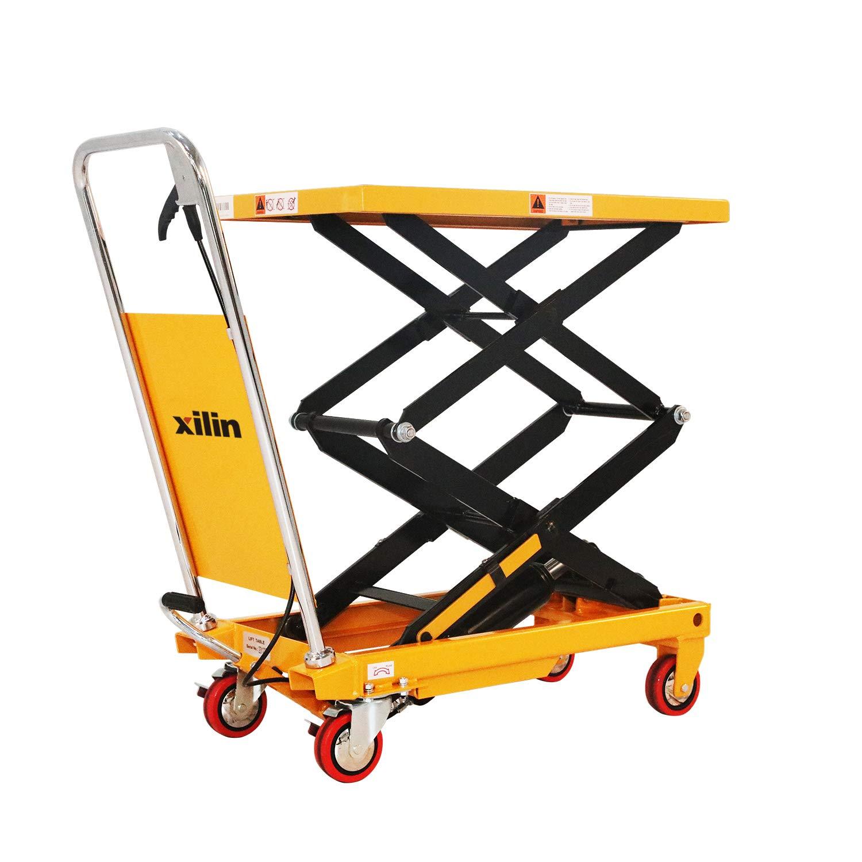 Xilin Platform Lawn Mower Hydraulic Cart Wheels Lift Double Scissor 770lbs Capacity Table