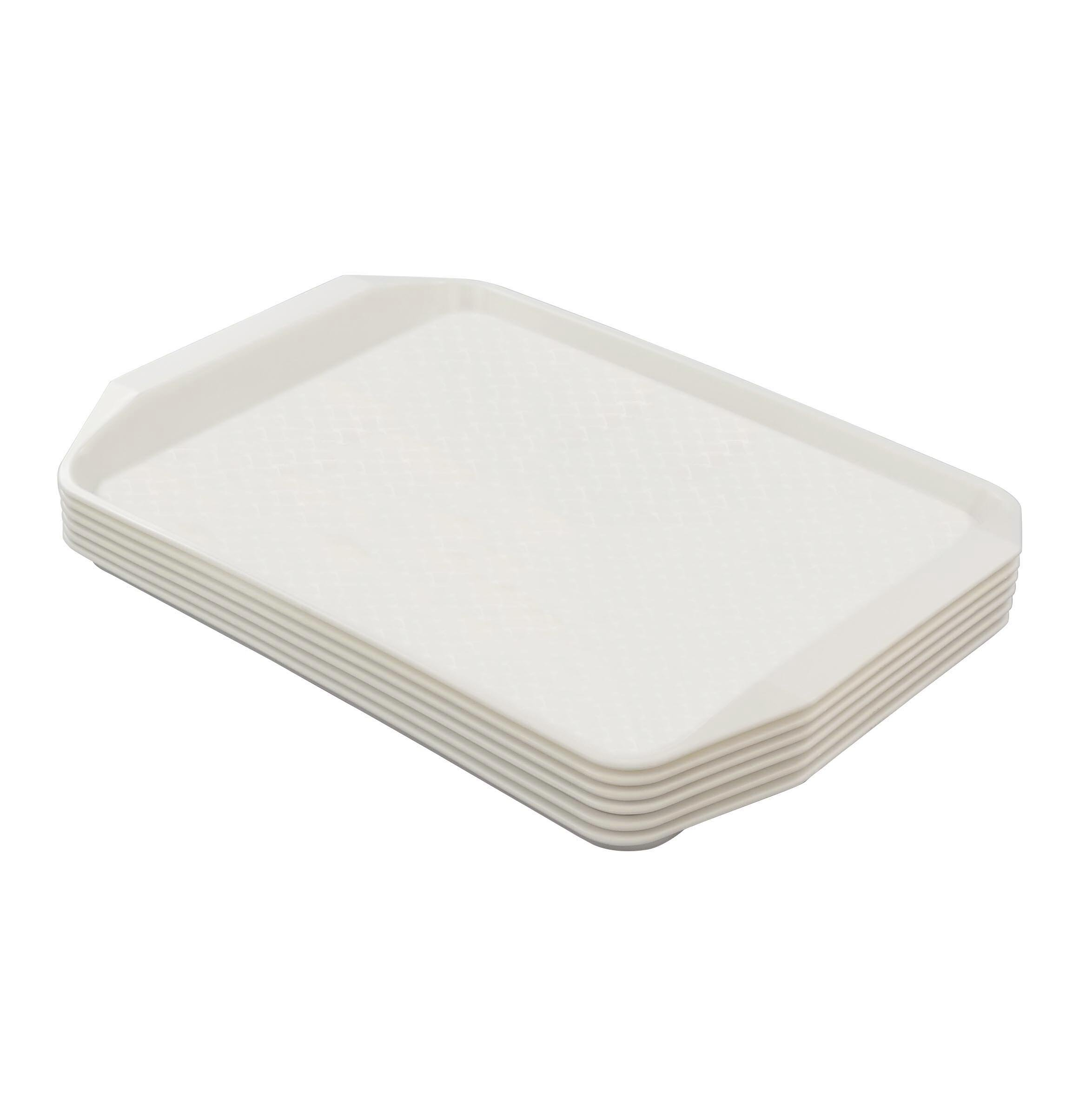 Eagrye Fast Food Serving Trays, Rectangle 16.9'' x 12'', Set of 6 (White)