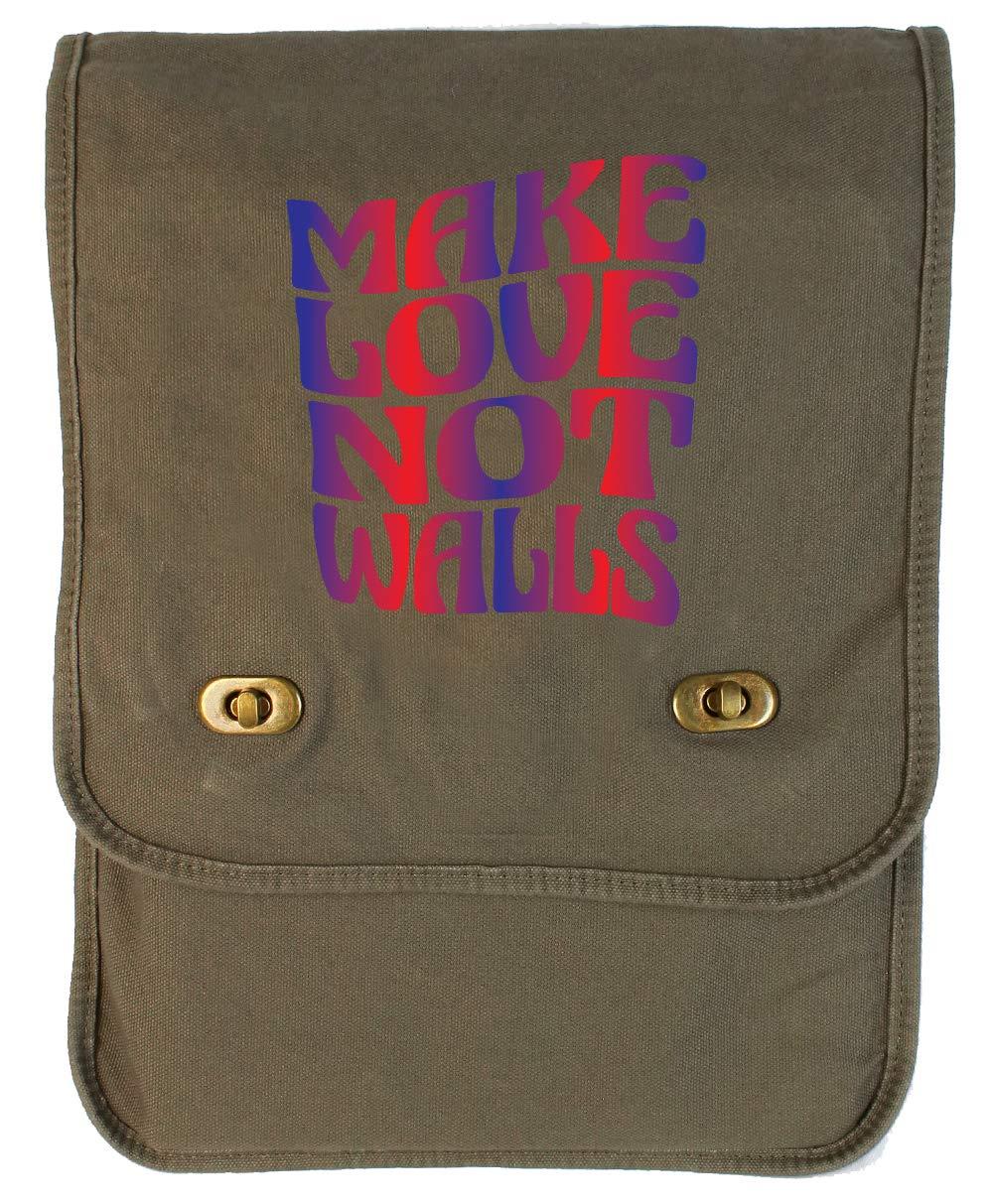 Tenacitee Make Love Not Walls Khaki Green Raw Edge Canvas Messenger Bag
