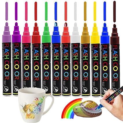 Marcadores acrílicos plumas 12 colores para la pintura de la ...