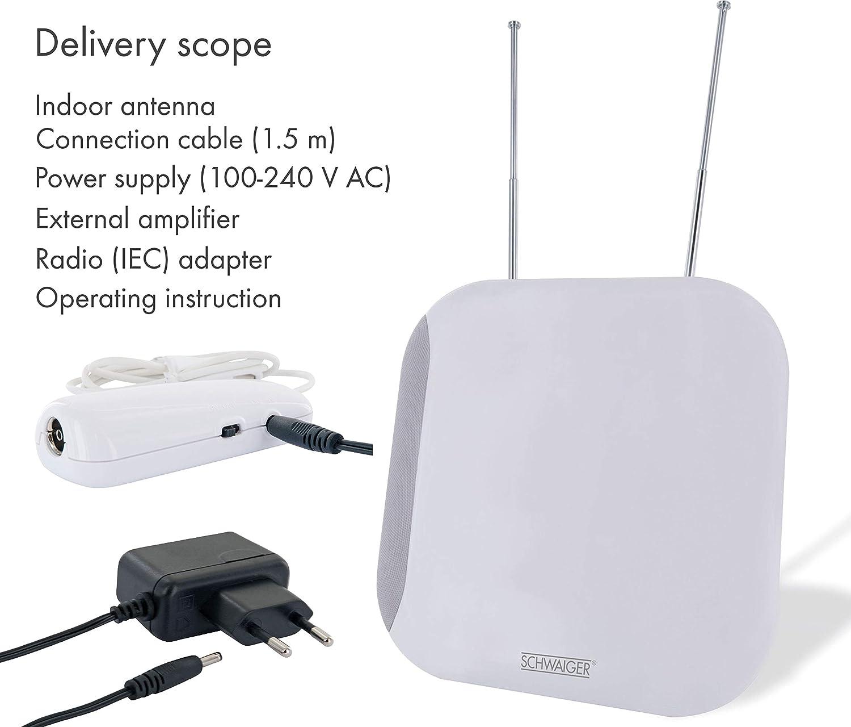 conexi/ón con el receptor DVBT-2 y la TV para la recepci/ón de DVB-T DAB+ y FM Filtro de corte LTE SCHWAIGER -20358- Antena DVBT-2 de interior con amplificador m/áxima fuerza de la se/ñal integ