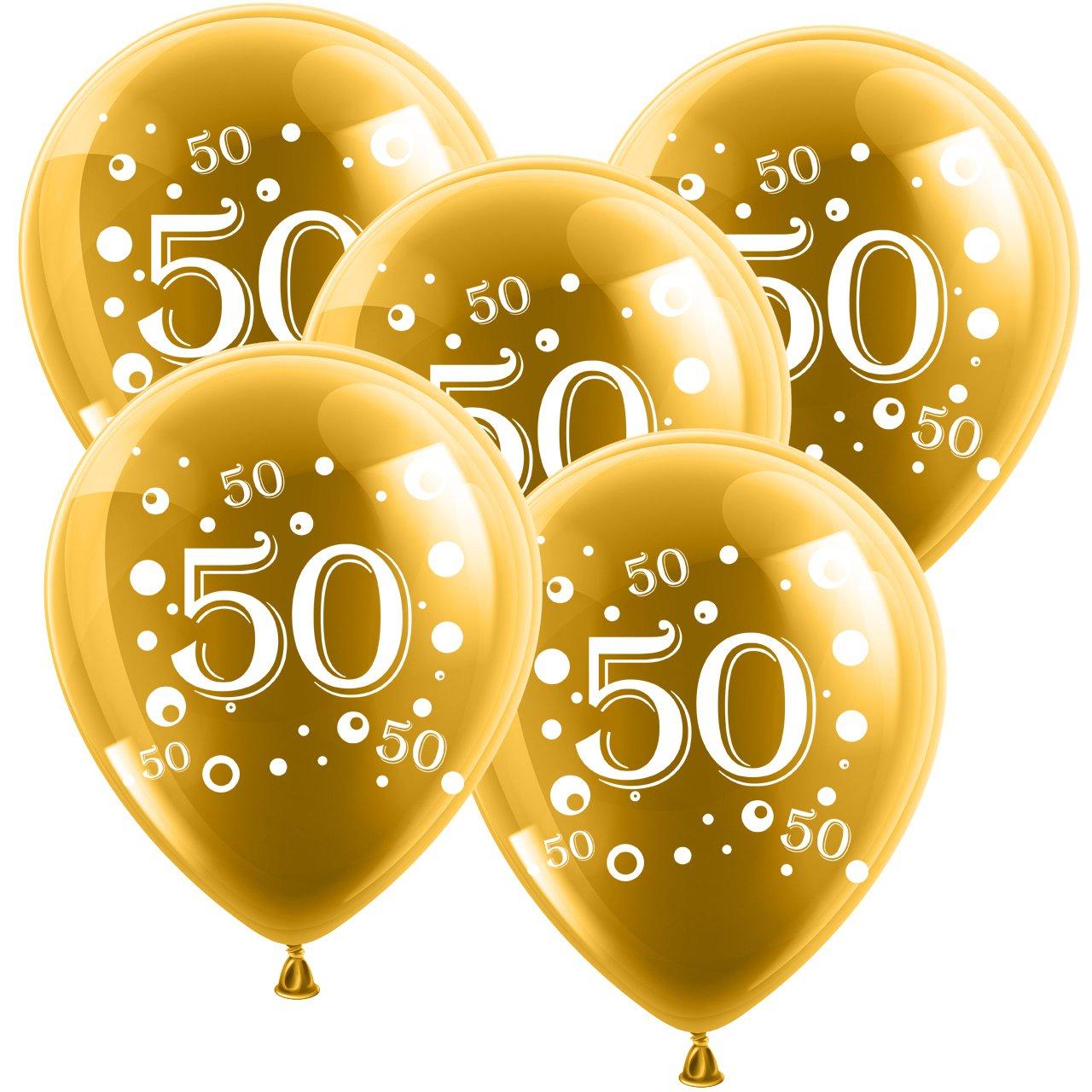 Fabelhaft 10 Latexballons Goldene Hochzeit Zahl 50 Gold 30cm Durchmesser &SR_46