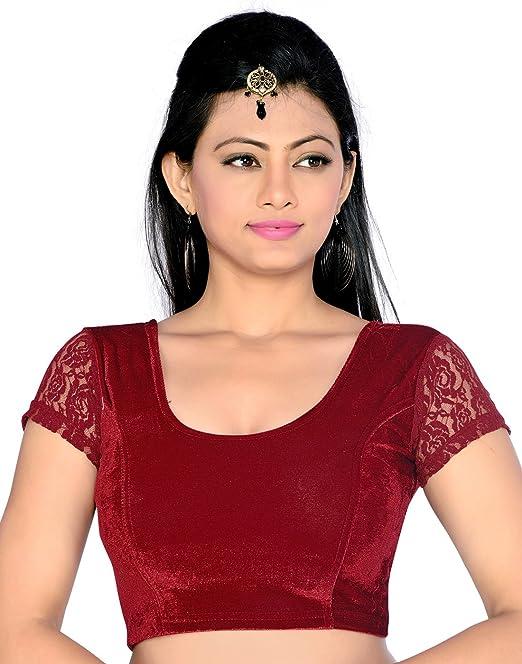 Studio Shringaar Party Maroon Solid Short Sleeve Non-Padded Blouse Saree Blouses at amazon
