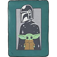 Jay Franco Star Wars The Mandalorian Curious Child Blanket - Measures 62 x 90 inches, Kids Bedding Features The Child Baby Yoda - Fade Resistant Super Soft Fleece (Official Star Wars Product)