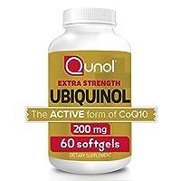 Qunol 200mg Ubiquinol, Powerful Antioxidant for Heart and Vascular Health, Essential...