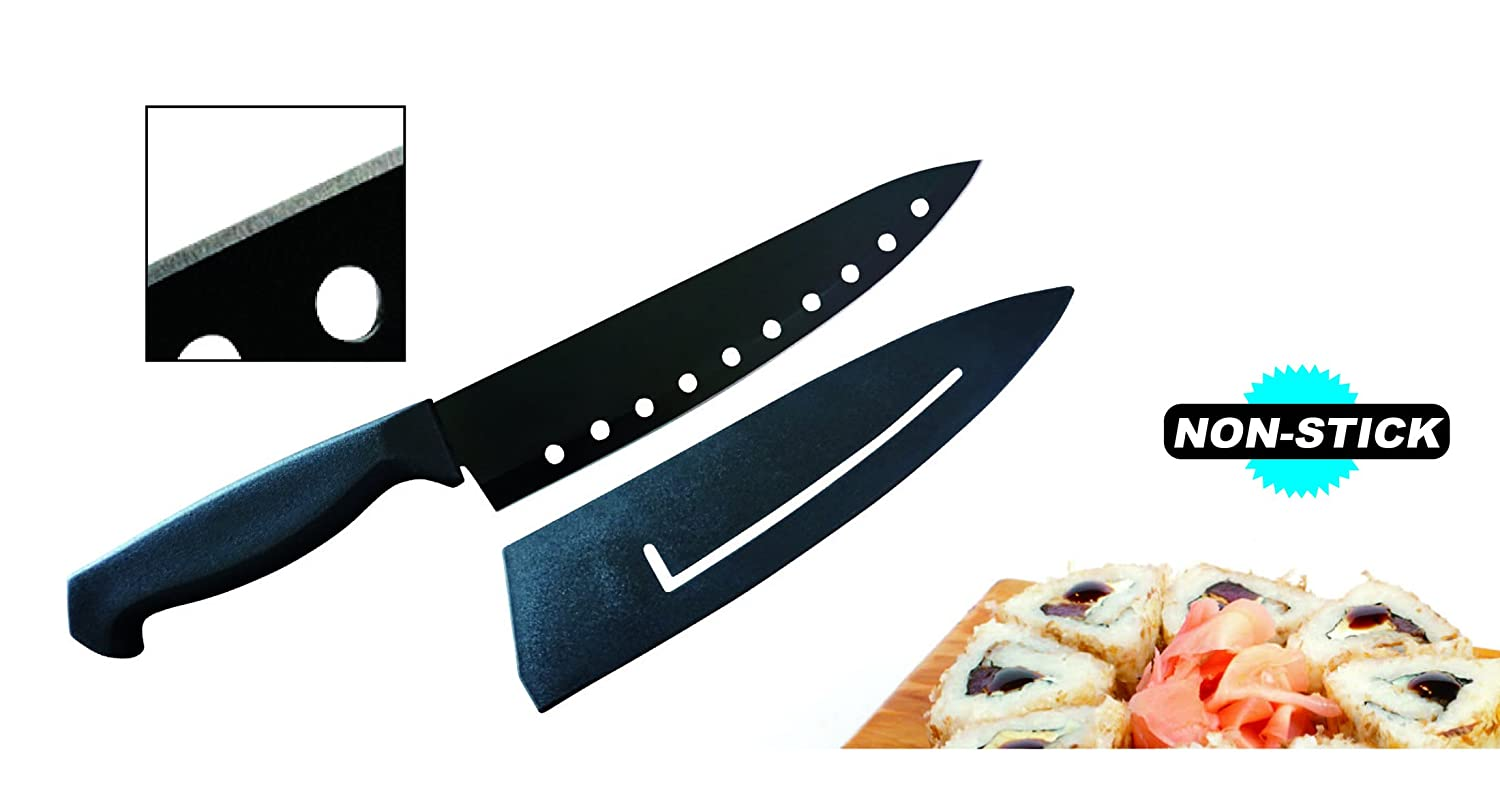 "Ewei's HomeWares 8"" Non-Stick Sushi Chef's Knife With Sheath, Black, Advantage, Ergonomic Handle, High Carbon Stainless Steel Knife, 5CR15MOV Blade Keep Sharpness Ewei's HomeWares"