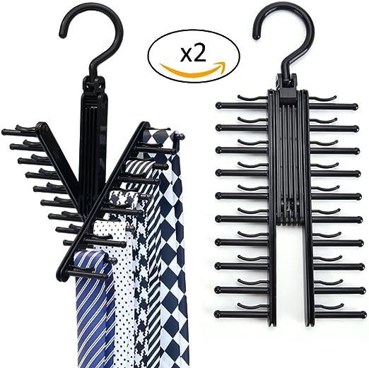 Lote de 2 perchas para 20 corbatas, fulares, chals, cinturones y ...