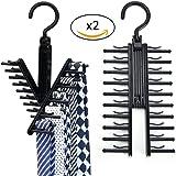 Cintres porte-cravates Homyad - Lot de 2 - Organise et permet le rangement de 2x20 cravates, foulards, châles, ceintures et autres accessoires