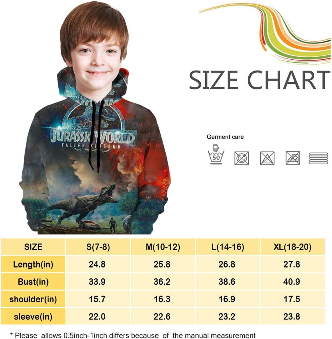 7-8 Others Unisex Kids Hooded Sweater with Pocket Jura-ssic Cool World Teen Customized Pullover Hoodie Sport Sweatshirts S