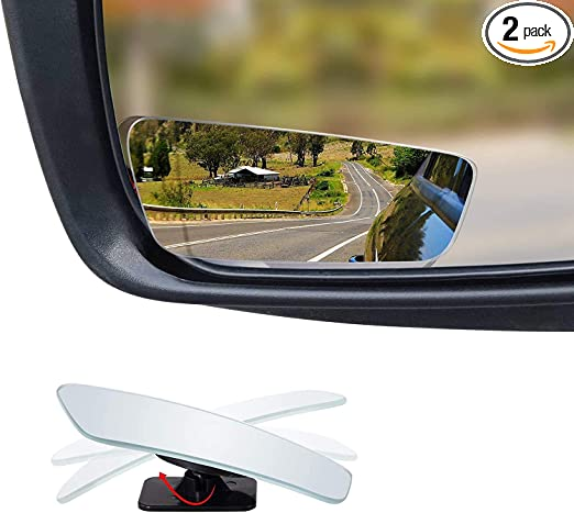 Dependable Direct HD Frameless Blind Spot Mirror Two-Way Design Pack of 2 Fan Shaped 2.5 Convex Glass Mirror - Rear View Fixed and 360/° Adjustable Angle Use