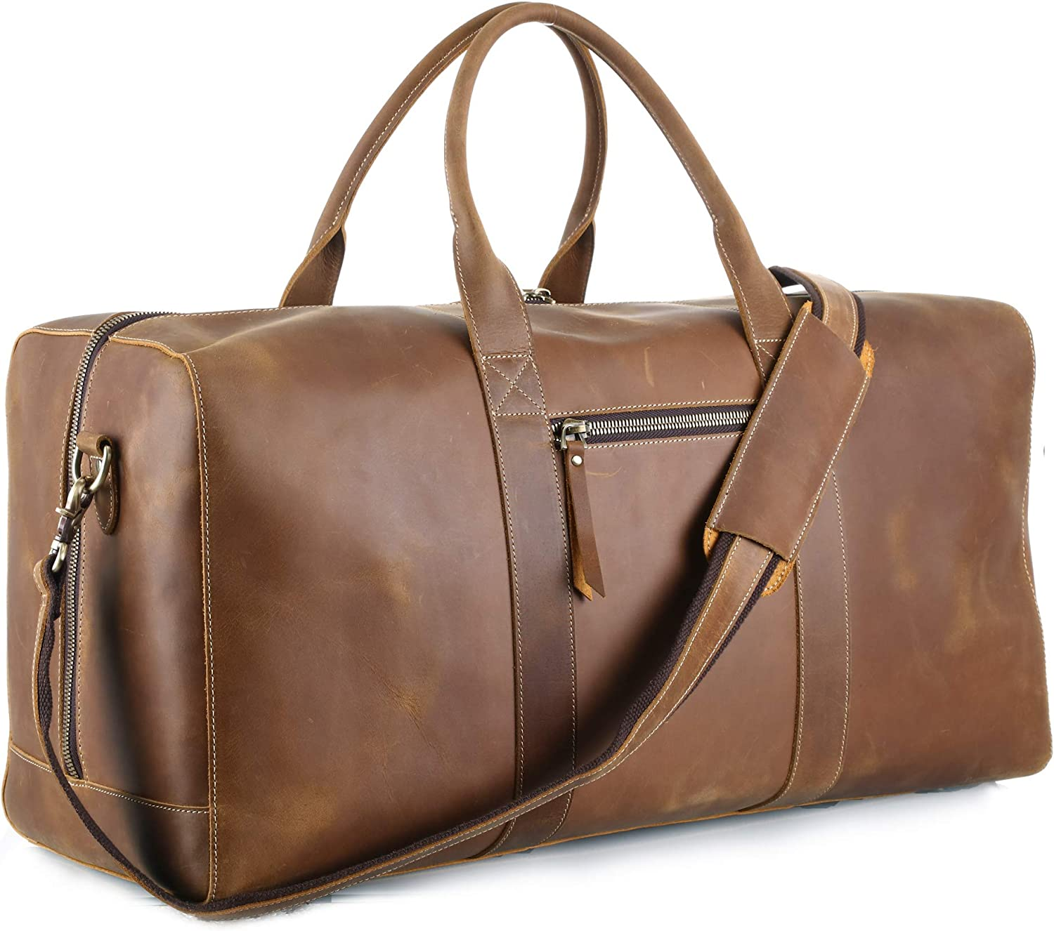 MERKIT 23 Cowhide Leather Travel Sports Overnight Duffle holdall Bag