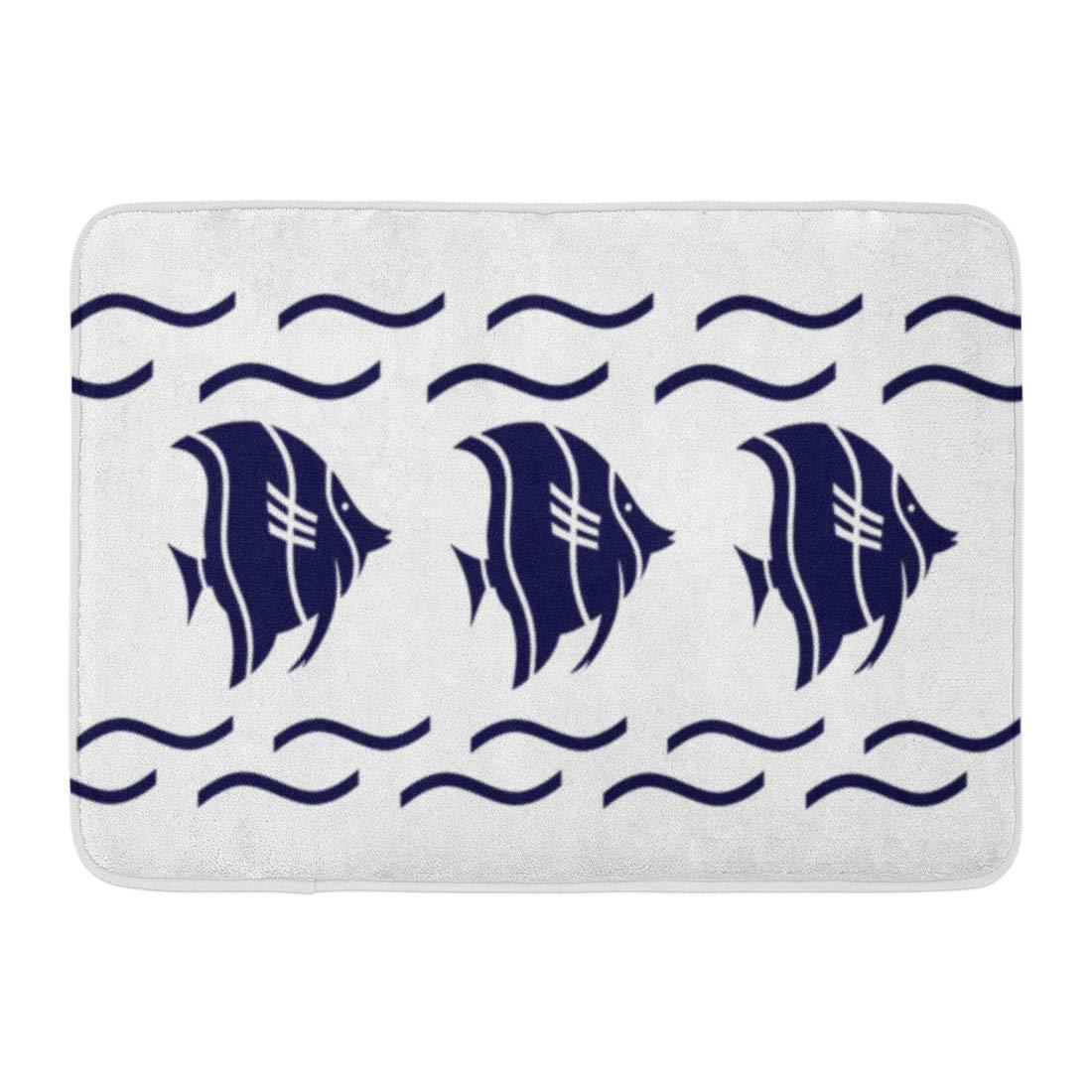 Soefipok Tapis de Bain Rayures dancrage de Plage sur Tapis de Salle de Bain Bleu Marine