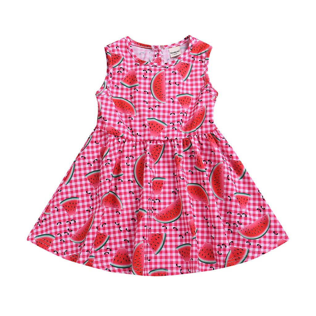 Toddler Infant Baby Girls Sleeveles Plaid Watermelon Print Dresses Clothing Red