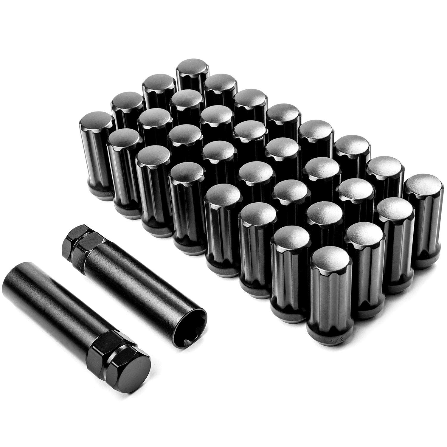 24 pc Chrome Spline Locking Lug Nuts 14x2.0 Thread Pitch 6x135 2003-2014 F150 2 Locking Socket Keys Venum Wheel Accessories