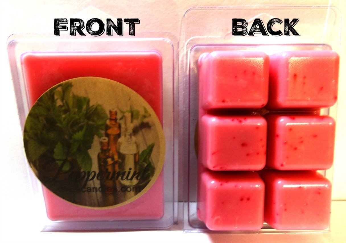 Peppermint 3.2 Ounce Pack of Soy Wax Tarts (6 Cubes Per Pack) - Scent Brick, Wickless Candle
