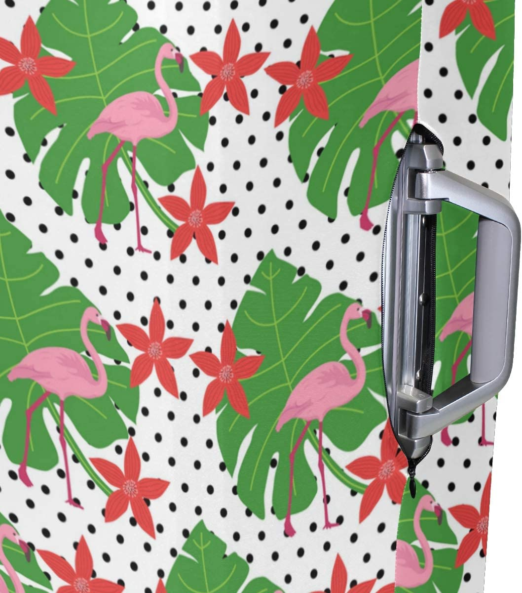 MALPLENA Flamingos And Cute Red Flowers Pattern Luggage Protector Suitcase Cover