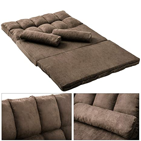 Double Chaise Lounge Sofa Chair Floor Couch with Two Pillows,Brown