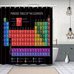 NYMB Educational Shower Curtain Decor, Periodic Table of The Elements for Kids, Polyester Fabric Black Shower Curtains, 69X70in, Shower Curtain Hooks Included, Black