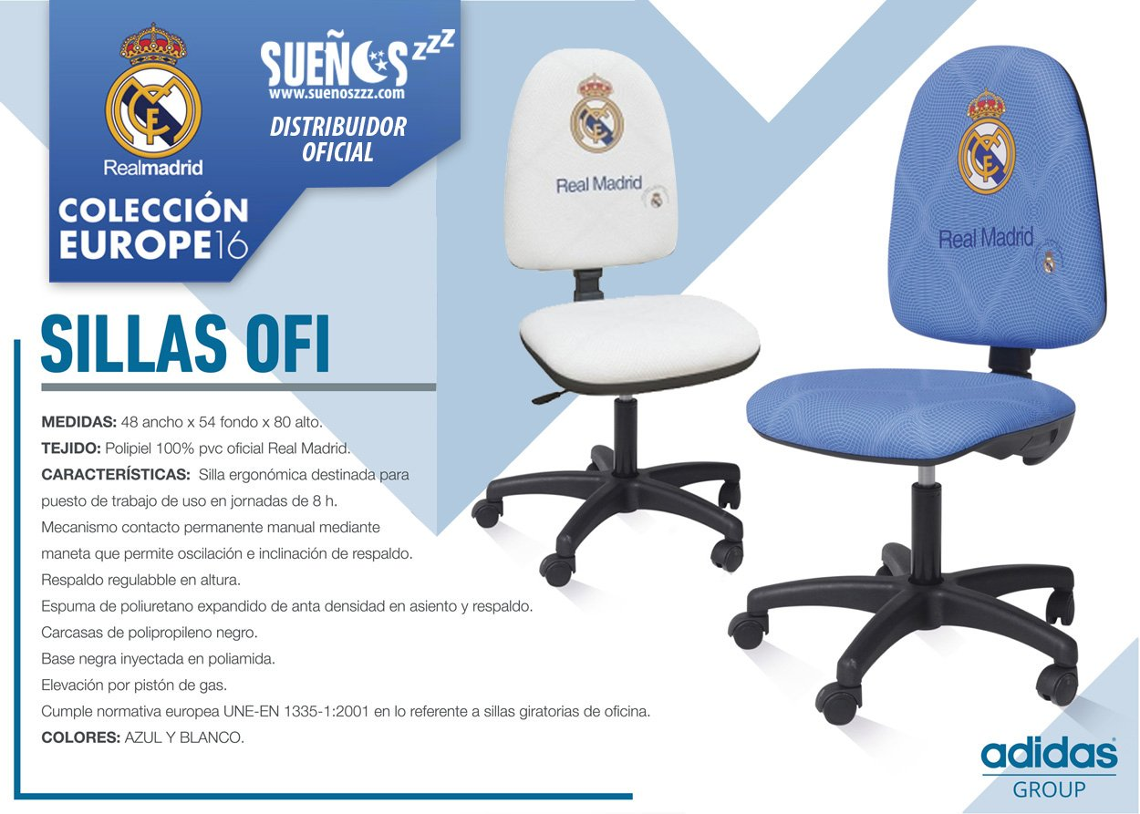 SUENOSZZZ - Real Madrid - Producto Oficial/Silla Escritorio Azul - 48x54x80: Amazon.es: Hogar
