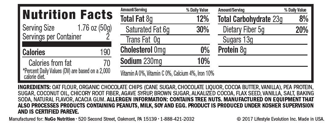 NuGo Protein Cookie, Double Chocolate, 16g Vegan Protein, Gluten Free, Soy Free, 12 Count by NuGo (Image #2)