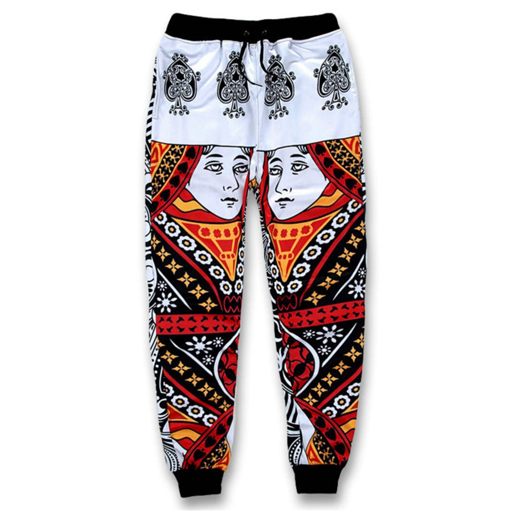 3D Mens Jogger Playing Cards K King Q Queen Poker Face Paisley Sweatpants Urpants