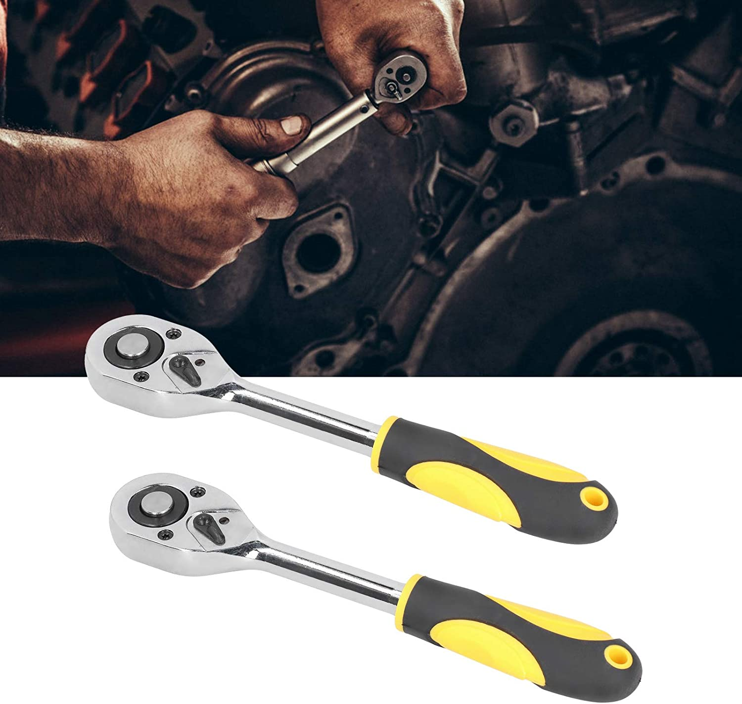 Quick-Release Ratchet, 2Pcs Straight Handle Wrenches Chrome Plating Surface
